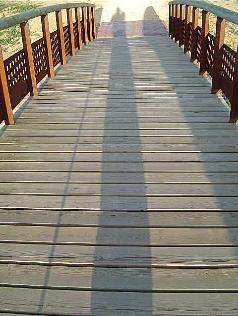 Interior del puente con sombra del fotógrafo